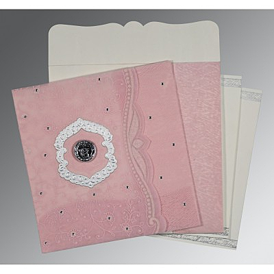 Pink Wooly Floral Themed - Embossed Wedding Card : ARU-8209H - IndianWeddingCards