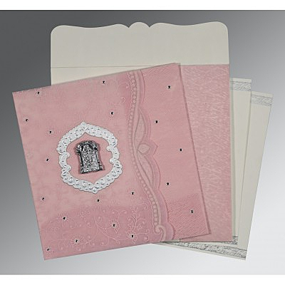 Pink Wooly Floral Themed - Embossed Wedding Card : ASO-8209H - IndianWeddingCards