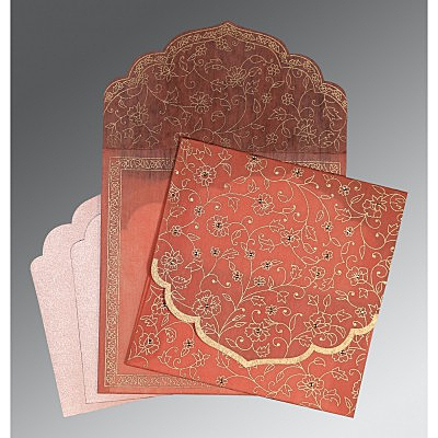 Pink Wooly Floral Themed - Screen Printed Wedding Invitation : AC-8211J - IndianWeddingCards