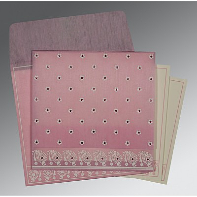 Pink Wooly Floral Themed - Screen Printed Wedding Card : AC-8218J - IndianWeddingCards