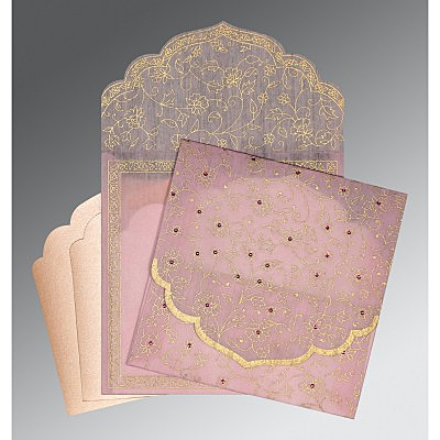 Pink Wooly Floral Themed - Screen Printed Wedding Invitation : AD-8211D - IndianWeddingCards