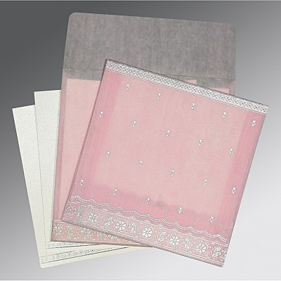 Pink Wooly Foil Stamped Wedding Card : AD-8242N - IndianWeddingCards
