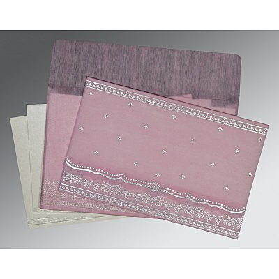 Pink Wooly Foil Stamped Wedding Invitation : ARU-8241E - IndianWeddingCards