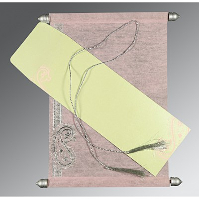 Pink Wooly Foil Stamped Wedding Card : ASC-5015D - IndianWeddingCards