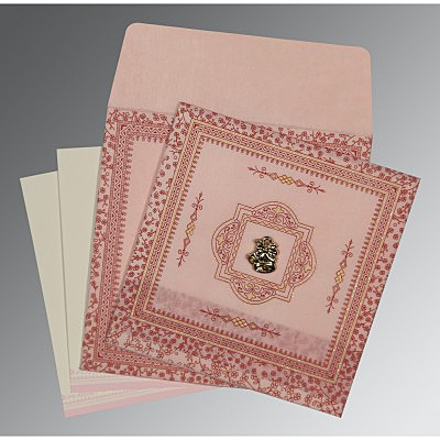 Pink Wooly Glitter Wedding Card : AC-8205J - IndianWeddingCards