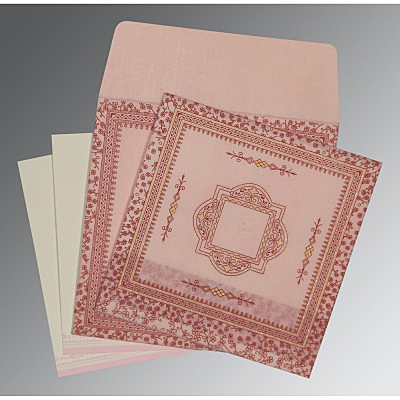 Pink Wooly Glitter Wedding Card : AD-8205J - IndianWeddingCards