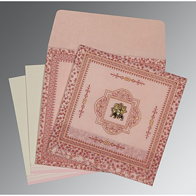 Pink Wooly Glitter Wedding Card : AG-8205J - IndianWeddingCards