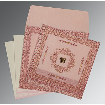 Pink Wooly Glitter Wedding Card : ARU-8205J - IndianWeddingCards