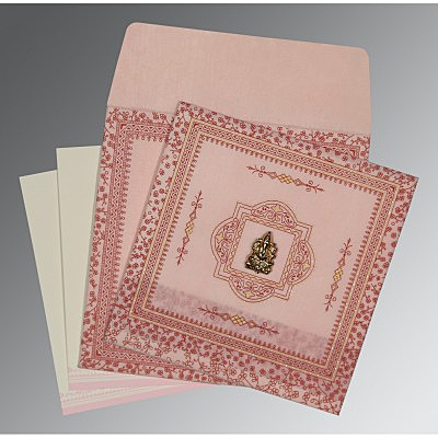 Pink Wooly Glitter Wedding Card : AW-8205J - IndianWeddingCards