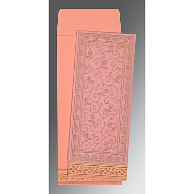 Pink Wooly Screen Printed Wedding Invitation : AI-8220J - IndianWeddingCards