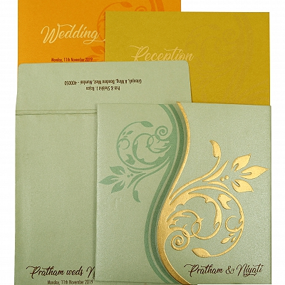 Pista Green Shimmery Floral Themed - Embossed Wedding Invitation : AIN-1901