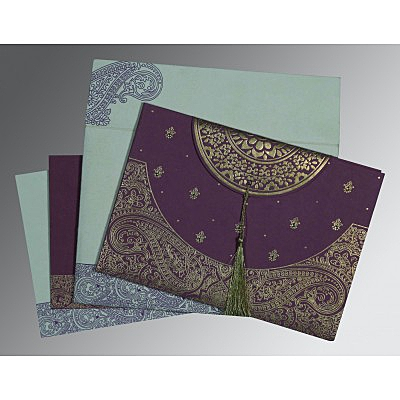 Purple Handmade Cotton Embossed Wedding Card : ARU-8234D - IndianWeddingCards