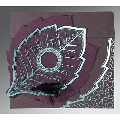 Purple Handmade Cotton Floral Themed - Foil Stamped Wedding Card : ASO-8219O - IndianWeddingCards