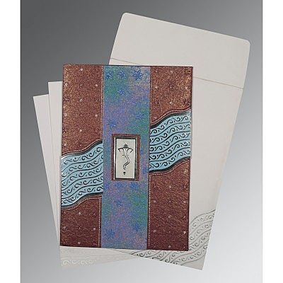 Purple Handmade Shimmer Foil Stamped Wedding Card : AIN-1375