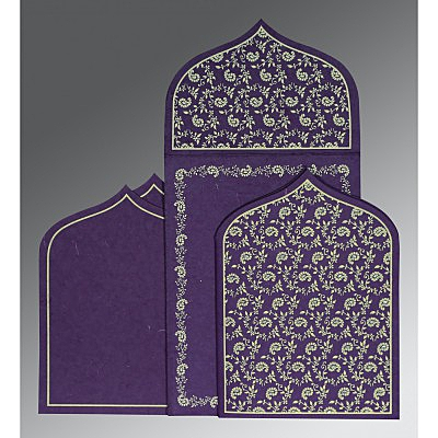 Purple Handmade Silk Paisley Themed - Glitter Wedding Invitation : AD-8208M - IndianWeddingCards