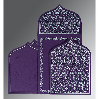 Purple Handmade Silk Paisley Themed - Glitter Wedding Invitation : AW-8208D - IndianWeddingCards
