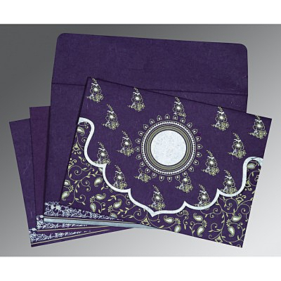 Purple Handmade Silk Screen Printed Wedding Invitation : AD-8207G - IndianWeddingCards