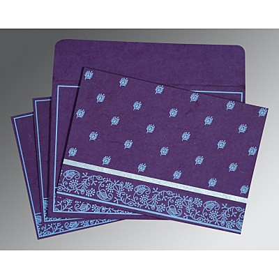 Purple Handmade Silk Screen Printed Wedding Card : AD-8215G - IndianWeddingCards
