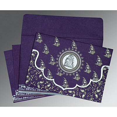 Purple Handmade Silk Screen Printed Wedding Invitation : AG-8207G - IndianWeddingCards