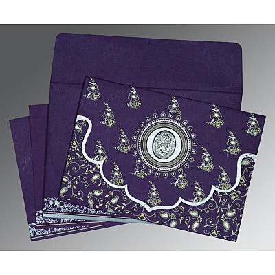 Purple Handmade Silk Screen Printed Wedding Invitation : AI-8207G - IndianWeddingCards