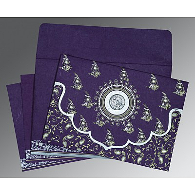 Purple Handmade Silk Screen Printed Wedding Invitation : ARU-8207G - IndianWeddingCards
