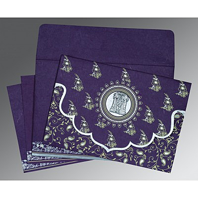 Purple Handmade Silk Screen Printed Wedding Invitation : ASO-8207G - IndianWeddingCards