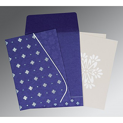 Purple Matte Floral Themed - Foil Stamped Wedding Invitation : AS-8237A - IndianWeddingCards