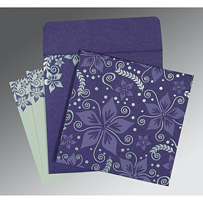 Purple Matte Floral Themed - Screen Printed Wedding Invitation : AW-8240B - IndianWeddingCards