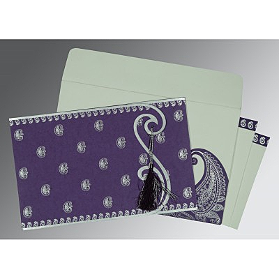 Purple Matte Paisley Themed - Screen Printed Wedding Invitation : AC-8252B - IndianWeddingCards