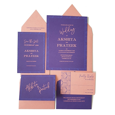 Purple Matte Screen Printed Wedding Invitation : A3D_ABSTRACT