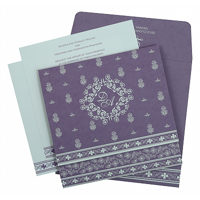 Purple Matte Screen Printed Wedding Invitation : AIN-808E