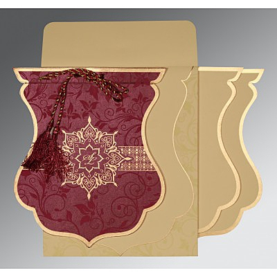 Purple Shimmery Floral Themed - Screen Printed Wedding Card : AIN-8229K - IndianWeddingCards