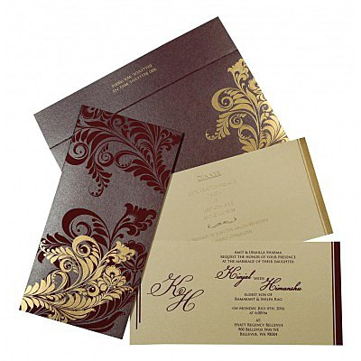 Purple Shimmery Floral Themed - Screen Printed Wedding Card : AW-8259F - IndianWeddingCards