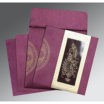 Purple Shimmery Paisley Themed - Foil Stamped Wedding Invitation : AS-8230K - IndianWeddingCards