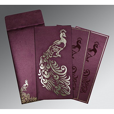 Purple Shimmery Peacock Themed - Laser Cut Wedding Invitation : AD-8255G - IndianWeddingCards