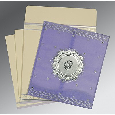 Purple Wooly Embossed Wedding Invitation : AC-8202S - A2zWeddingCards