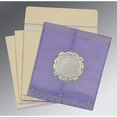 Purple Wooly Embossed Wedding Invitation : AD-8202S - IndianWeddingCards