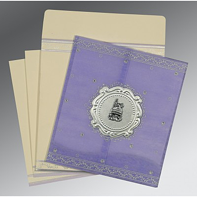 Purple Wooly Embossed Wedding Invitations : AI-8202S - A2zWeddingCards