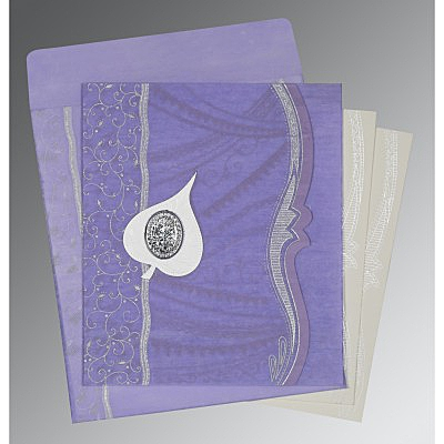 Purple Wooly Embossed Wedding Card : AI-8210N - IndianWeddingCards
