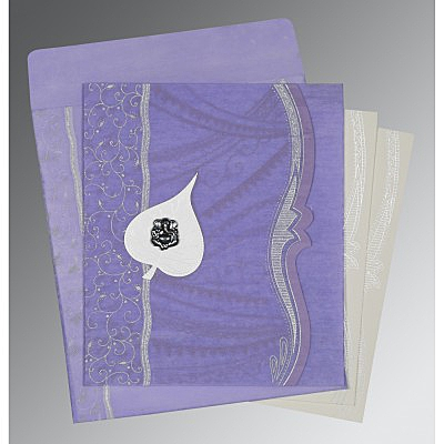 Purple Wooly Embossed Wedding Invitations : AIN-8210N - A2zWeddingCards