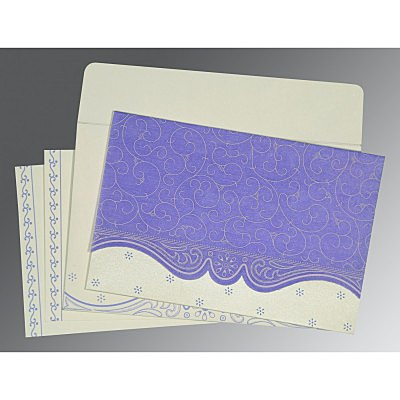 Purple Wooly Embossed Wedding Invitation : ARU-8221E - IndianWeddingCards