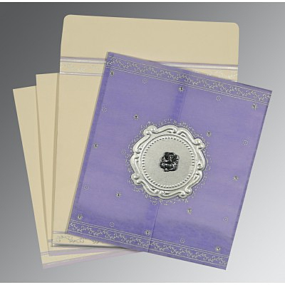 Purple Wooly Embossed Wedding Invitation : AW-8202S - IndianWeddingCards