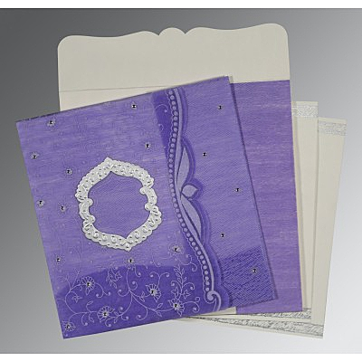 Purple Wooly Floral Themed - Embossed Wedding Card : AD-8209C - IndianWeddingCards