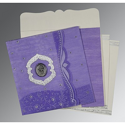 Purple Wooly Floral Themed - Embossed Wedding Card : AI-8209C - IndianWeddingCards