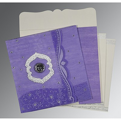 Purple Wooly Floral Themed - Embossed Wedding Card : ARU-8209C - IndianWeddingCards