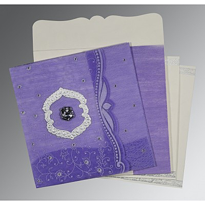 Purple Wooly Floral Themed - Embossed Wedding Card : AW-8209C - IndianWeddingCards