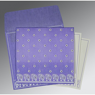 Purple Wooly Floral Themed - Screen Printed Wedding Card : AC-8218H - IndianWeddingCards