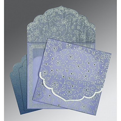 Purple Wooly Floral Themed - Screen Printed Wedding Invitation : ASO-8211O - IndianWeddingCards