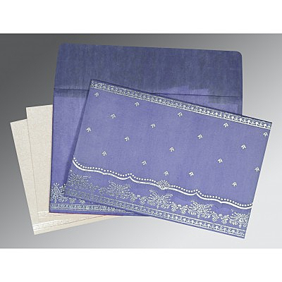 Purple Wooly Foil Stamped Wedding Invitation : AI-8241D - IndianWeddingCards