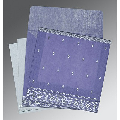 Purple Wooly Foil Stamped Wedding Card : AS-8242C - IndianWeddingCards